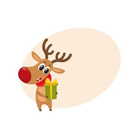 Funny Christmas reindeer in red scarf holding a gift, present, cartoon vector illustration with background for text. Red nosed deer in red scarf with Christmas present, holiday decoration element Illustration