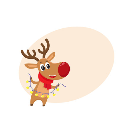 Funny Christmas reindeer in red scarf holding a garland, cartoon vector illustration isolated with background for text. Red nosed deer in red scarf with Christmas lights, holiday decoration element