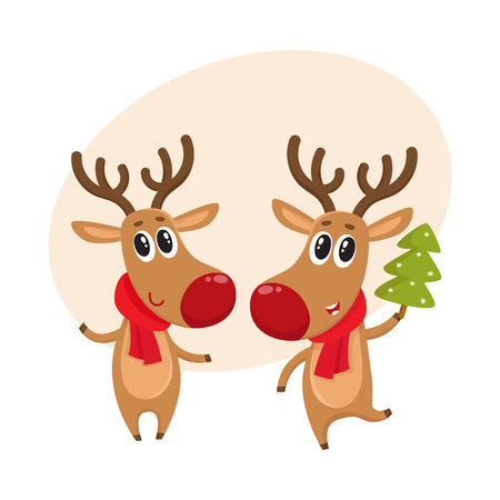 Two Christmas reindeer with a red scarf and green fir tree, cartoon vector illustration isolated with background for text. Christmas red nosed deer, holiday decoration element Illustration