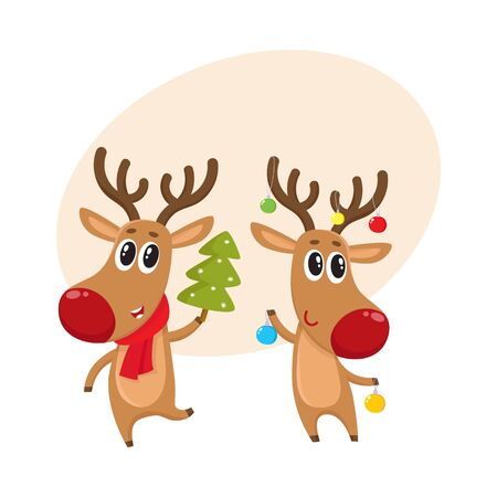 nosed: Two reindeer with Christmas toys and tree, cartoon vector illustration isolated with background for text. Christmas red nosed deer, holiday decoration element Illustration