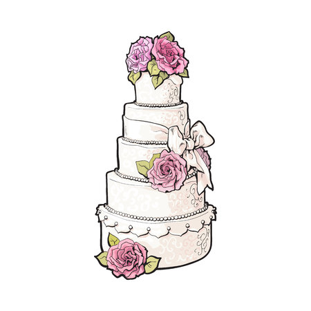 cake background: Traditional white tiered wedding cake decorated with pink marzipan roses, sketch style illustration isolated on white background. Layered wedding cake with five tiers, white icing and pink roses