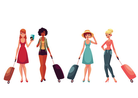 Set of young fashionable women, girls traveling with luggage, suitcases, cartoon illustration isolated on white background. Beautiful Caucasian and African American tourist girls with luggage