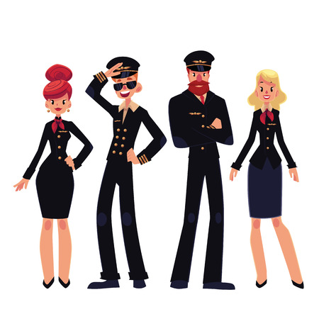 Airplane crew of pilots and stewardesses, cartoon vector illustration isolated on white background. Set of pilots and stewardesses, flight assistants in black colored uniform Illustration
