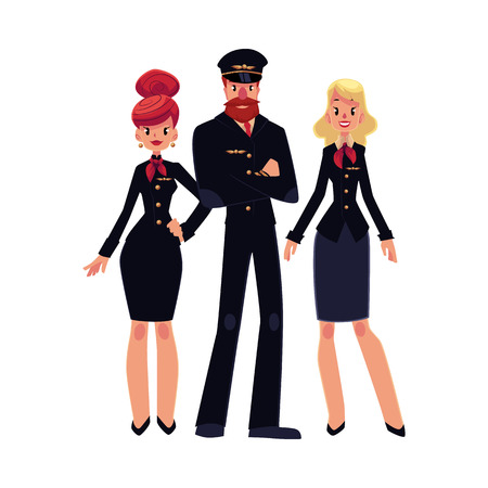 airline pilot: Full length portraits of bearded airline pilot and two flight attendants, stewardess in black uniform, cartoon vector illustration isolated on white background. Pilot and two beautiful stewardess