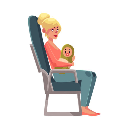 economy class: Young beautiful blond woman in airplane seat, economy class, holding little baby, cartoon vector illustration on white background. Woman passenger with a baby in economy class airplane seat, side view