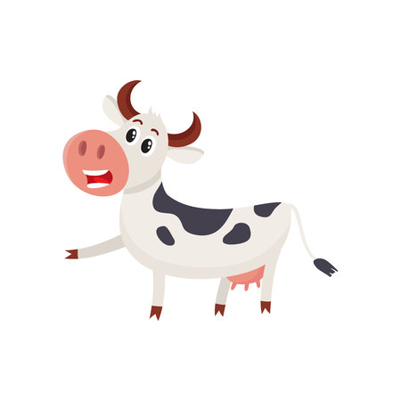 Funny black and white spotted cow character pointing to something and talking, cartoon vector illustration isolated on white background. Funny cow character drawing attention to something