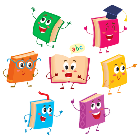 Set of funny book characters, mascots, cartoon vector illustration isolated on white background. Humanized, childish books with smiling faces, arms and legs, school, education concept, design elements Illusztráció