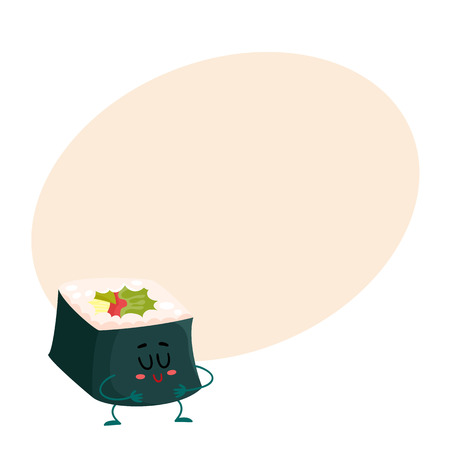 spicy mascot: Japanese nori, seaweed roll character, cartoon vector illustration on background with place for text. Cute and funny smiling seaweed, nori roll filled with fish and vegetables, asian cuisine Illustration