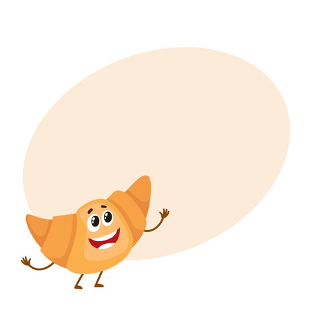 Funny croissant, bread roll character, cartoon style vector illustration isolated on background with place for text. Cute smiley freshly baked croissant character with eyes and legs Illustration