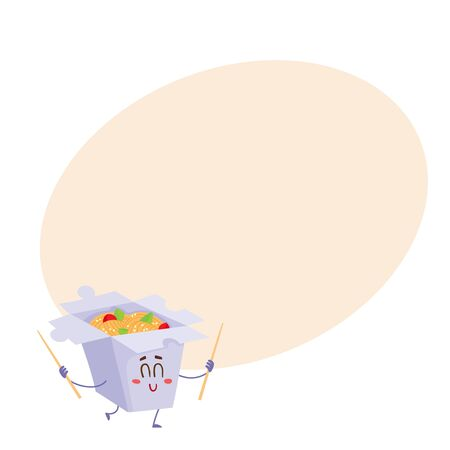 cooked rice: Japanese noodle in paper box character with smiling face and chopsticks, cartoon vector illustration on background with place for text. Cute and funny smiling noodle box character, Asian cuisine Illustration