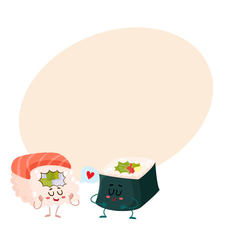 nori: Japanese salmon, tuna sushi and nori, seaweed roll characters, cartoon vector illustration on background with place for text. Cute and funny smiling salmon, tuna and nori sushi, sashimi, roll