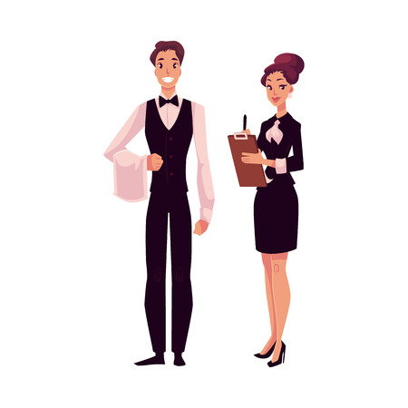 Young restaurant, cafe manager and a waiter, cartoon vector illustration isolated on white background. Full length portrait of restaurant manager, hostess in little black dress and waiter in uniform Illustration