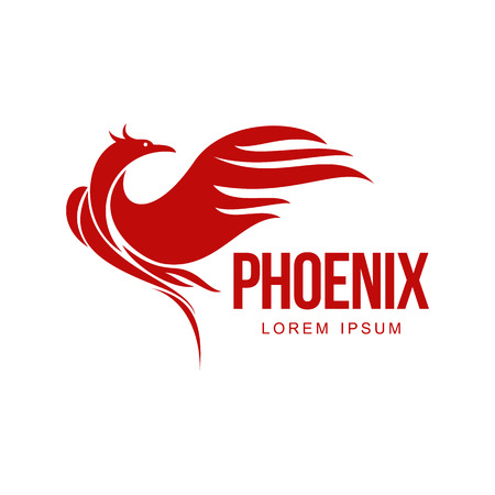 Stylized graphic phoenix bird resurrecting in flame template, vector illustration isolated on white background. Phoenix in fire template, revival, rebirth, resurrection concept