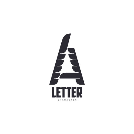 tec: Letter A   template with three-edged star middle, vector illustration isolated on white background. Abstract black and white letter A symbol design for scientific and technological companies Illustration