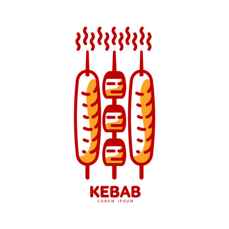 freshly: Stylized hot, freshly grilled Turkish kebab  template, vector illustration isolated on white background. Creative two-colored kebab,  template, traditional Turkish fast food