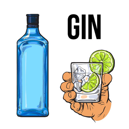 unlabelled: Blue gin bottle and hand holding glass with ice and lime, icolated sketch vector illustration. Realistic hand drawing of unlabeled, unopened bottle and gin on rocks cocktail for posters, postcards