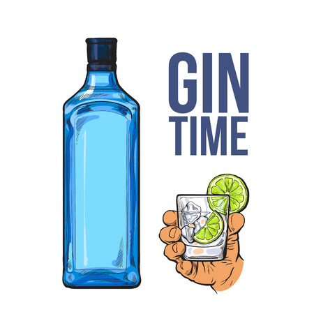 gin: Blue gin bottle and hand holding glass with ice and lime, icolated sketch vector illustration. Realistic hand drawing of unlabeled, unopened bottle and gin on rocks cocktail for posters, postcards