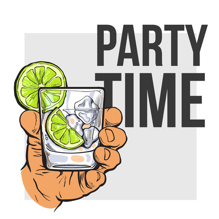 gin: Hand holding glass of gin, vodka, soda water with ice and lime, sketch style vector illustration for poster, banner, invitation template. Hand drawing of hand with alcohol drink, party time concept