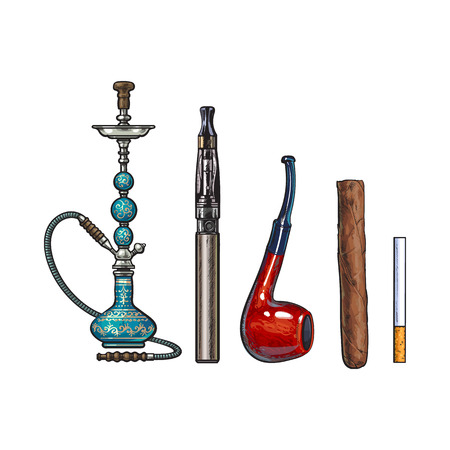 Smoking accessories - hookah, cigarettes, cigar and pipe, sketch vector illustration isolated on white background. Hand drawn smoking attributes such as hookah, electronic cigarette, cigar and pipe Illustration
