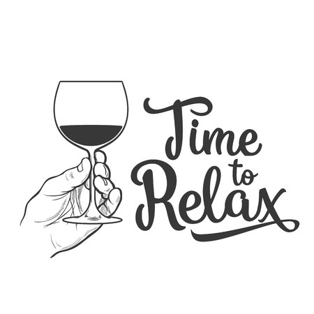 hand holding wine glass, sketch style vector illustration isolated. Realistic hand drawing of an unlabeled, unopened and hand holding glass of wine for posters, postcards, time to relax concept