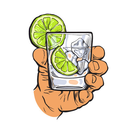 gin: Hand holding glass of gin, vodka, soda water with ice and lime slices, sketch style vector illustration isolated on white background. Hand drawing of male hand with alcohol drink
