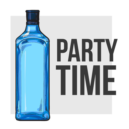 gin: Traditional blue gin glass bottle, sketch style vector illustration for poster, banner, invitation template. Realistic hand drawing of an unlabeled, unopened blue gin bottle, party time concept