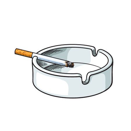 ashtray: White clean and empty ceramic ashtray with a single lit cigarette, sketch vector illustration isolated on white background. Realistic hand-drawing of simple white ash tray with a burning cigarette Illustration