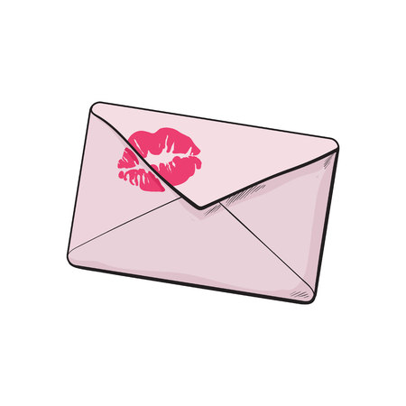 Backside of pink envelope with red lipstick kiss, sketch vector illustration isolated on white background. Hand drawing of pink colored enveloped with a lipstick kiss, love letter, romantic message Illustration