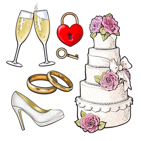 Set of wedding icons - cake, rings, glasses of champagne and lock with a key, sketch style illustration isolated on white background. Realistic hand drawing of wedding objects, symbols, elements