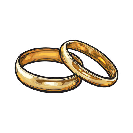 Pair of traditional golden wedding rings, sketch style illustration isolated on white background. Realistic hand drawing of golden rings for bride and groom, symbol of eternal love