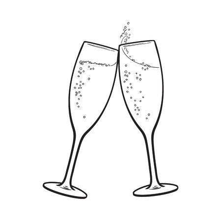 champagne glasses: Pair of champagne glasses, set of sketch style vector illustration isolated on white background. Hand drawn glasses with bubbly champagne, cheers, holiday toast