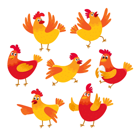 Set of funny cartoon red and orange chicken, hen in various poses, vector illustration isolated on white background. Cute and funny colorful set chicken running, standing, sitting, holding an egg