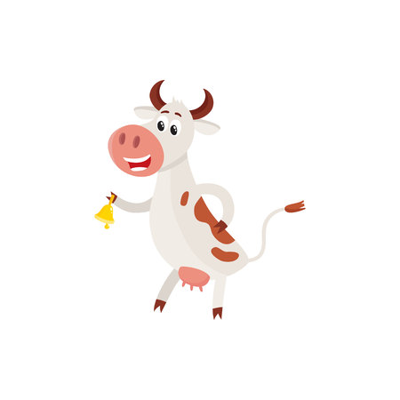 Funny black white spotted cow standing on hind legs and ringing a bell, cartoon vector illustration isolated on white background. Funny cow ringing a bell sanding on two legs, dairy farm concept Illustration