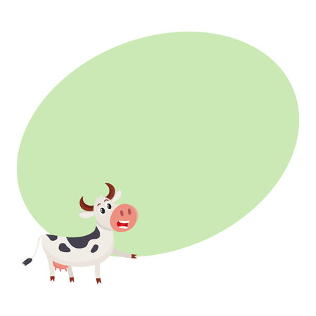 Funny black and white spotted cow character pointing to something and talking, cartoon vector illustration on background with place for text. Funny cow character drawing attention to something Illustration