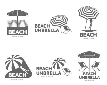 sunshade: Logo templates with beach umbrella and sun bathing lounge chairs, vector illustration isolated on white background. Black and white graphic logotypes, logo templates with sunshade umbrellas