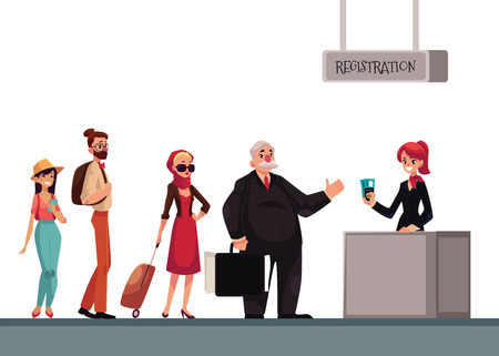 waiting line: Line to airport check-in, passenger and baggage registration desk, cartoon vector illustration isolated on white background. People waiting for check in, luggage drop, baggage registration in airport Illustration