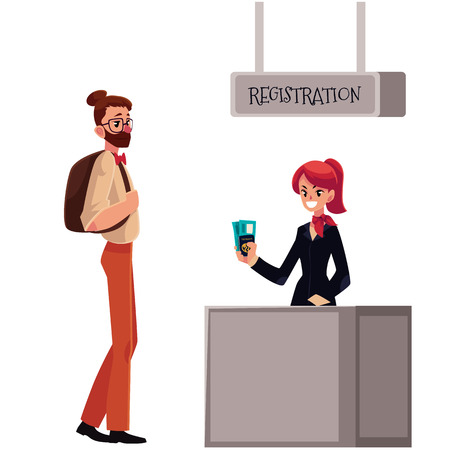 waiting line: Line to airport check-in, passenger and baggage registration desk, cartoon vector illustration isolated on white background. Man waiting for check in, luggage drop, baggage registration in airport
