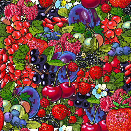 Berries - blueberry, raspberry, gooseberry, current and plum, dense sketch style seamless pattern illustration. Garden, forest berries seamless patern, backdrop, textile, wraping paper design