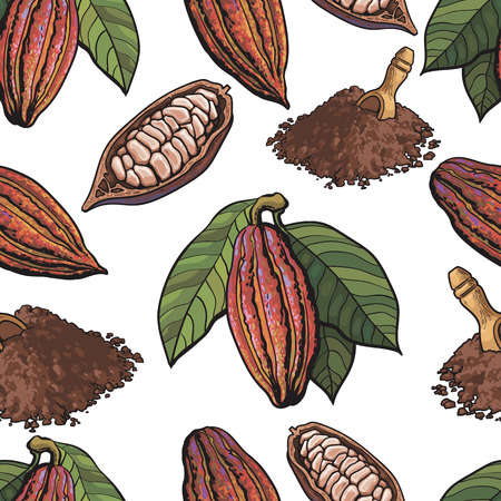 Seamless pattern of cacao fruit, beans and powder on white background, sketch style illustration. Cacao fruit, beans, powder forming seamless pattern for print, textile, wrap, backdrop design Illustration