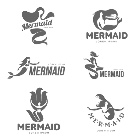 fish type: Set of stylized black and white graphic mermaid logo templates, vector illustration isolated on white background. Black and white swimming, sitting, stylized mermaid logotype, logo design