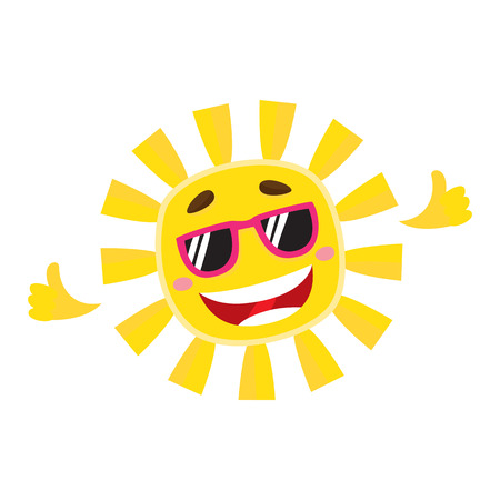 Smiling, cheerful sun wearing sunglasses, cartoon vector illustration isolated on white background. Cute and funny sun character in sunglasses showing thumb up, symbol of summer and vacation Vektoros illusztráció
