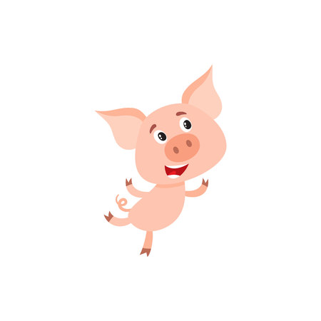 hurrying: Funny little pig with swirling tail running or jumping on rear legs, cartoon vector illustration isolated on white background. Cute little pig hurrying to something, decoration element