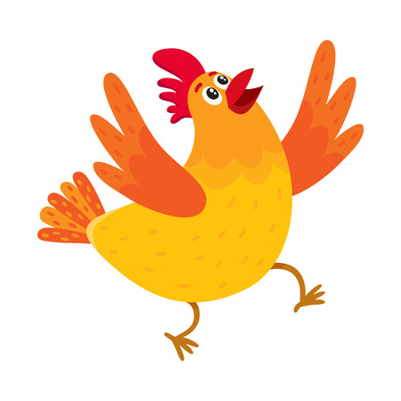 Funny cartoon red and orange chicken, hen surprised or jumping from happiness, cartoon vector illustration isolated on white background. Cute and funny colorful chicken looking up and raising wings Illustration