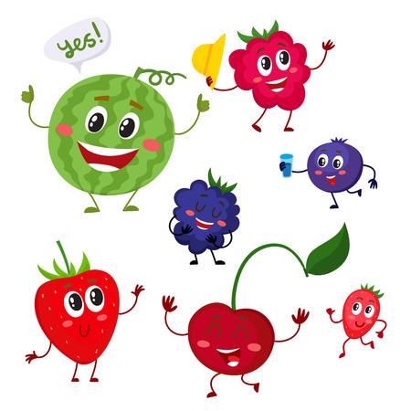 귀 엽 고 재미있는 베리 캐릭터 - 수 박, 검은 딸기, 딸기, 라스베리, 블루 베리, 체리, 흰색 배경에 고립 된 만화 벡터 일러스트 레이 션의 집합입니다. 만화 스타일의 베리 캐릭터 스톡 콘텐츠 - 68839435