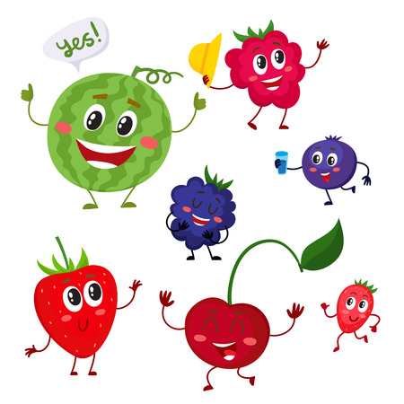 Set of cute and funny berry characters - watermelon, blackberry, strawberry, raspberry, blueberry, cherry, cartoon vector illustration isolated on white background. Comic style berry characters