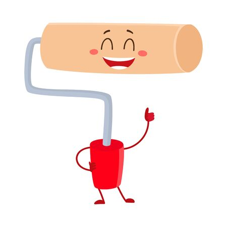 Funny paint roller tool character smiling and giving thumb up, cartoon vector illustration isolated on white background. Comic style paint roller on red plastic handle smiling happily