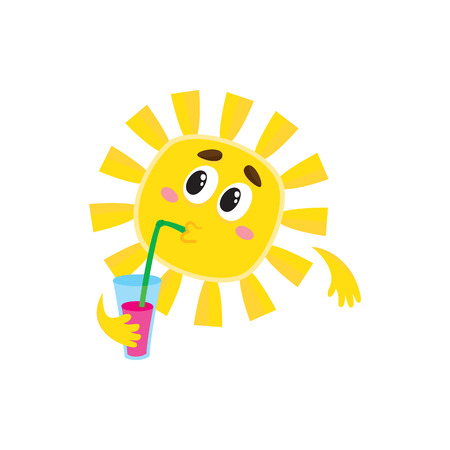 thoughtful: Thoughtful sun drinking cocktail through a straw, cartoon vector illustration isolated on white background. Cute and funny sun character with a soft drink, symbol of summer and vacation