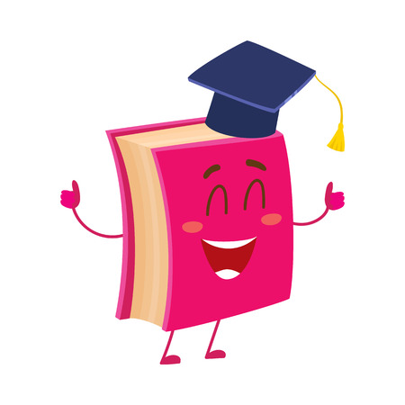 Funny book character in graduation cap showing thumbs up, cartoon vector illustration isolated on white background. Red book wearing graduation cap, eyes closed in happiness, school, education concept