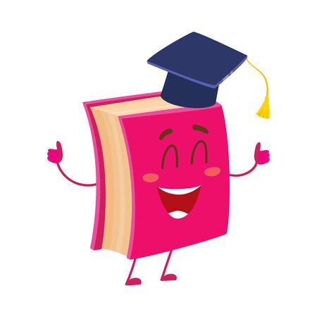 Grappig boek personage in graduation cap zien thumbs up, cartoon vector illustratie op een witte achtergrond. Rood boek dragen afstuderen cap, de ogen gesloten in geluk, school, onderwijs concept Stock Illustratie