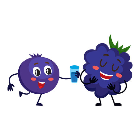 dewberry: Cute and funny comic style blueberry character offering drink to blackberry, cartoon vector illustration isolated on white background. Blackberry and blueberry berry characters, mascots Illustration